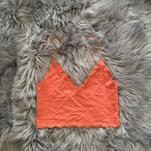 Tops - Burnt Orange Lace Tank Top